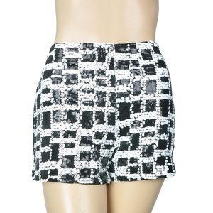 Black and white sequin shorts